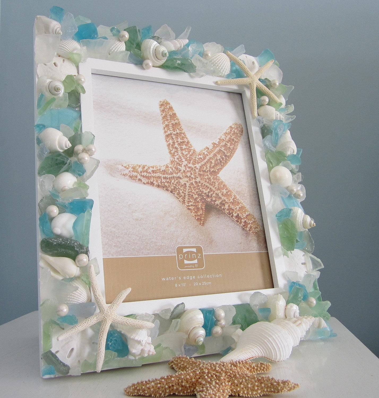 Free Shipping 4pcs Shell Pearl Beach Wall Painting Print: Nautical Seashell Frame W Pastel