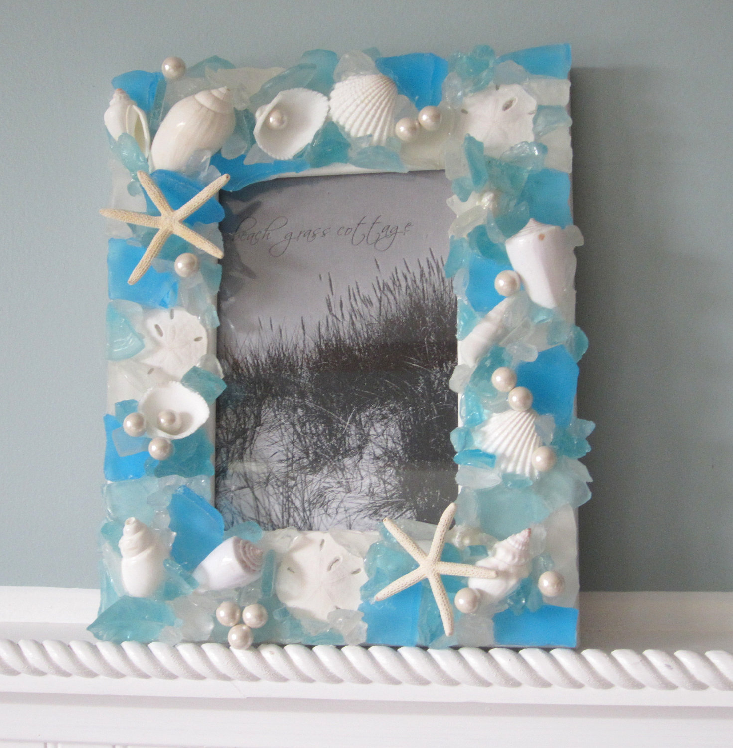 seashell frames for beach decor nautical sea glass shell frame in aqua 8x10 - Nautical Frames