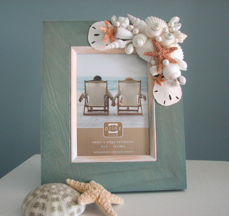 beach decor shell frame nautical seashell frame w starfish sand dollars aqua 5x7 - Nautical Picture Frame