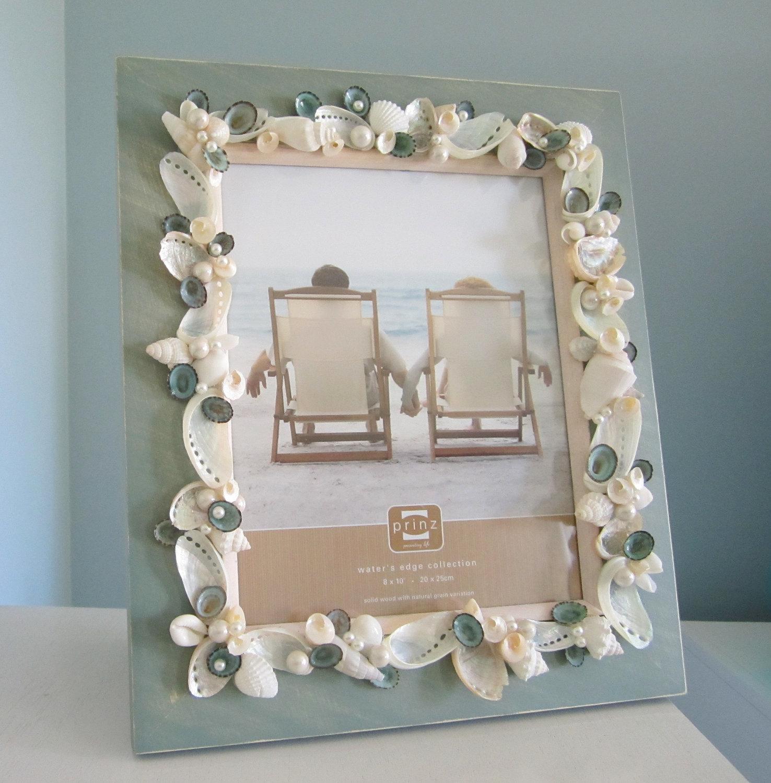 Beach Decor Shell Frame Nautical Seashell W Pearls Aqua Limpets 8x10