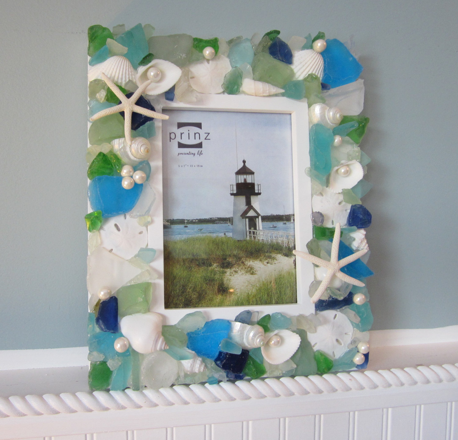 seashell frames for beach decor nautical decor shell frame w sea glass in aqua blue green 8x10 - Nautical Frames