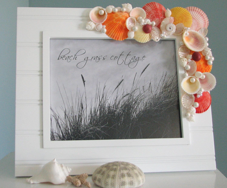 Beach Decor Shell Frame Nautical Decor Seashell Frame W Colored
