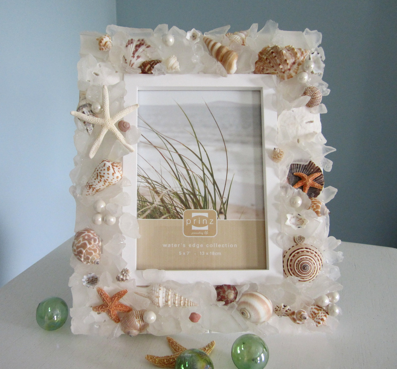 Nautical decor seashell frame beach decor sea glass for Seashell decor